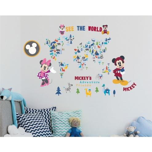 GID080 米奇好朋友系列-環遊世界創意壁貼