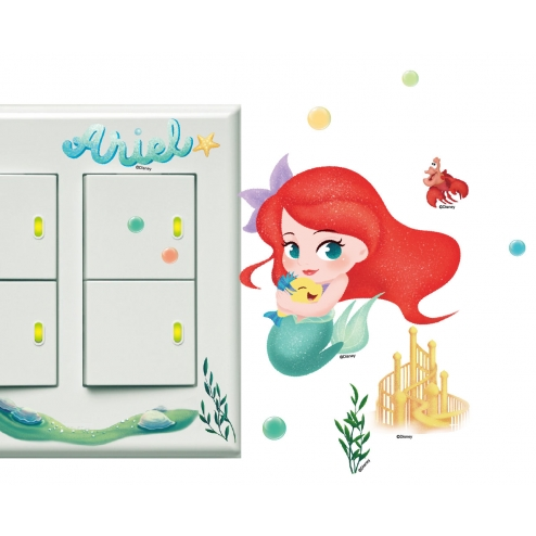 BID101 Q版公主 開關壁貼 小美人魚 愛麗兒
